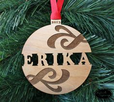 Christmas Ornament - Custom Name Wood Ornament - Personalized Gift - Engraved Name Swirl Ball