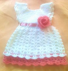 White Pink Baby FrockToddler Clothes  Newborn by paintcrochet, $30.00