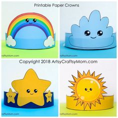 """Printable In the Sky Themed Paper Crowns Create your own """"In the Sky"""" themed Headband. Printable PDF in full color and Black and white. 6 Designs - Sun , 2 moon designs, star, clouds and rainbow. Diy Crafts For Kids, Preschool Activities, Arts And Crafts, Kreative Jobs, Crown For Kids, Paper Crowns, Lessons For Kids, Birthday Party Themes, Projects To Try"""