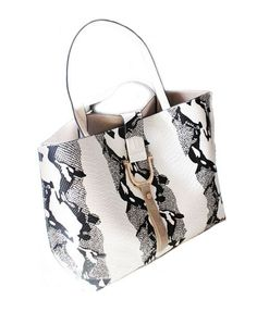 Python Skin PU Leather Tote Bags - Not Leather - Handbag - Bags - Bags & Accessories