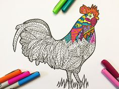 Rooster  PDF Zentangle Coloring Page от DJPenscript на Etsy