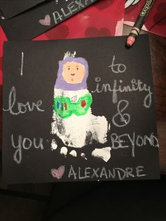 Buzz Lightyear from Toy Story made from foot print for Valentine's Day cards. To infinity and beyond.