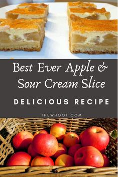 Everyone is going mad for this Apple Sour Cream Slice and it's another good old fashioned favorite made from scratch. Get the recipe now. Tart Recipes, Healthy Dessert Recipes, Apple Recipes, Sweet Recipes, Baking Recipes, Fruit Recipes, Apple Sour Cream Slice, Apple Kuchen Recipe, Coffee Cake Loaf