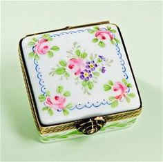 Limoges Roses and Ribbons Square Box The Cottage Shop