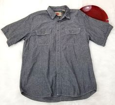 Field N Forest Mens Shirt Size XL Gray Chambray Short Sleeve Button Down o756 #FieldNForest #ButtonFront