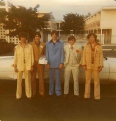 Leisure suits--my husband wore these in blue, cream and mint green!!