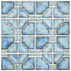 SomerTile 11.75x11.75-in Luna Diva Blue Porcelain Mosaic Tile (Pack of 10) for bath surround