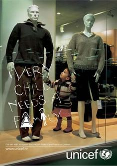Nice Guerrilla campaign from Unicef - Every child need a family