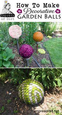 Decorative garden balls tutorial; a bowling ball or other circular object, and flat sided glass gems. Garden Crafts, Garden Art, Balls, Outdoor Gardens, Free, Diy, Build Your Own, Bricolage, Yard Art