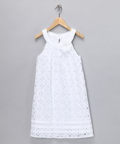 Take a look at this City Triangles White Eyelet Dress - Girls by Beach Portrait: Kids' Apparel on #zulily today!