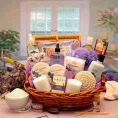 Buy The Essence of Lavender Spa Gift Basket. More - The Essence of Lavender Spa Gift Basket. The Essence of Lavender Spa Gift BasketSend her an indulgent spa experience right at home with this exquisite spa gift basket featuring all Lavender products. Gift Baskets For Women, Mother's Day Gift Baskets, Wine Baskets, Basket Gift, Basket Raffle, Creative Gift Baskets, Mothers Day Baskets, Holiday Gift Baskets, Creative Gifts