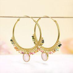 Gold Over Sterling Silver Multi-Color Tourmaline, Sweet Pink Rose Quartz Hoop Earrings