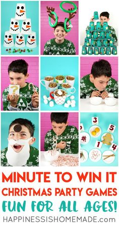 Christmas Minute to Win It Games - Host the best Christmas party ever with these fun Christmas Minute to Win It games for kids and adults – everyone from toddlers to grandmas will want to play! These Christmas party games are perfect for all ages – challe Minute To Win It Games Christmas, Christmas Party Games For Kids, School Christmas Party, Xmas Games, Holiday Party Games, Christmas Fun, Holiday Parties, Party Games For Toddlers, Minute To Win It Games For Adults