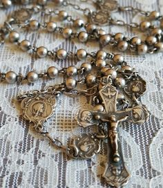 Small Vintage French Silver Rosary Art Nouveau Communion Rosary Blessed Mother Mary Virgin Mary Catholic Jewelry Religious Jewelry by PinyolBoiVintage on Etsy