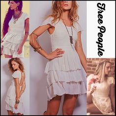 """FREE PEOPLE Party Mini Shift Dress Cutout Back RETAIL PRICE: $128 NEW WITH TAGS  FREE PEOPLE White Sound of the Sea Dress * Ruffled tiered skirt * A-line silhouette  * Short flutter cap sleeves & tie open back detail; Subtly sexy * It measures about 32"""" long; Vintage feel * Stretch-to-fit embellished embroidered bodice   * My model Jessica is wearing this dress in size S in photos Fabric:100% cotton Color:Ivory; Item: FP40535 # pastel  No Trades ✅ Offers Considered*✅ *Please use…"""