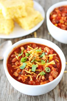 Slow Cooker Turkey Chili Recipe on twopeasandtheirpod.com This healthy chili is always a hit!