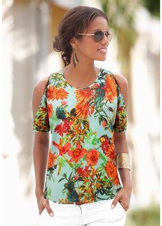 Blusa com abertura nos ombros verde estampado encomendar agora na loja on-line bonprix.de  R$ 69,90 a partir de Blusa estampada com manga curta e ombros com ...