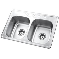 Fashion Plumbing - PGKTD33226 self rimming double bowl stainless steel kitchen sink, $70.98 (http://www.fashionplumbing.com/princeton-brass-pgktd33226-self-rimming-double-bowl-stainless-steel-kitchen-sink/)