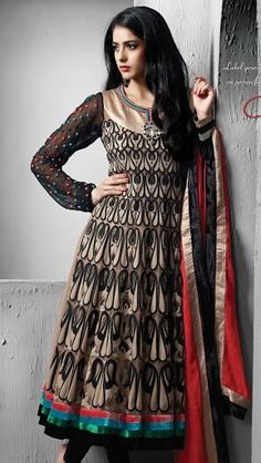Dont really like the detail on the sleeves, but otherwise this is beautiful.(: Beige and black net thread, resham, zari, stone embroidered and patch bordered readymade anarkali kameez with black lycra churidar and shot tone faux chiffon dupatta Anarkali Churidar, Salwar Kameez, Middle Eastern Fashion, Indian Dresses, Indian Fashion, Ready To Wear, Chiffon, Beige, Suits