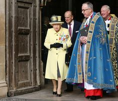 The Queen and Prince Philip make their way out of Westminster Abbey having attended the Co...
