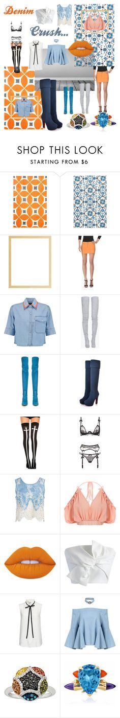 """denim crush"" by beanpod ❤ liked on Polyvore featuring Dot & Bo, Versace Jeans Couture, Être Cécile, Balmain, Valentino, AiSun, Chicnova Fashion, Agent Provocateur, Sans Souci and Lime Crime"