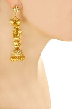 Gold finish textured ball jhumki earrings available only at Pernia's Pop-Up Shop.