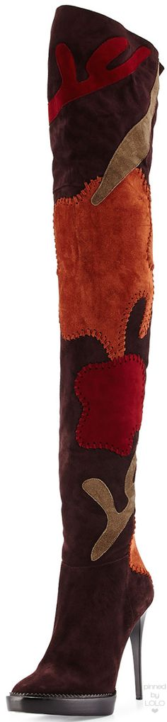 Burberry Allison Patchwork Over-the-Knee Boot, Oxblood | LOLO