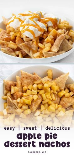A quick and easy dessert or snack recipe! Apple Pie Dessert Nachos are made of homemade cinnamon-sugar chips, topped with sweetened apples, whipped cream, and drizzled with caramel. It has all the flavors of a traditional pie in a fun-to-eat treat. Save this sweet treat! Easy No Bake Desserts, Apple Desserts, Strawberry Desserts, Apple Snacks, Snack Recipes, Apple Recipes, Dip Recipes, Fall Recipes, Appetizer Recipes