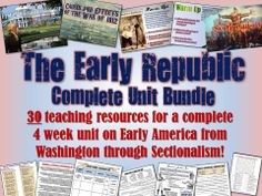 This amazing, gigantic unit bundle includes a month's worth of lessons for American History from George Washington's presidency through Sectionalism prior to the Civil War! It includes 30 total teaching resources that are all visually-engaging and aligned with Common Core Standards! A easy-to-follow teaching guide explains how each resource fits day-by-day so that an entire month is planned out with multiple resources for every day!