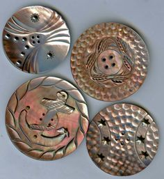 4 ex. large antique pearl buttons