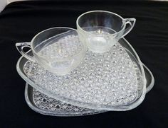 Indiana glass Daisy and Button Snack Set Snack Plates & Cups Two VTG by pluckylucky on Etsy