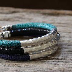 Hammered Silver Leather Bangle Bracelet / Colorful Teal Blue Dark Black / Animal Print Safari / Spring Fashion Boho Tribal Stacking Bracelet on Etsy, $127.00
