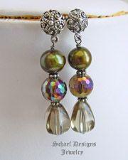 Schaef Designs Amethyst Quartz Pearl & Sterling Silver Dangle POST Earrings | New Mexico