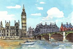 London Westminster Bridge Big Ben art print from an original watercolor painting Watercolor Art Paintings, Watercolor Sketch, Original Paintings, Watercolours, Westminster Bridge, Westminster Abbey, Big Ben, Drawing Blood, Pen And Wash