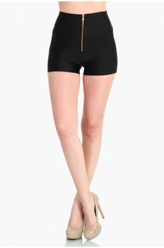 OMG ZIP UP HIGH WAIST SHORTS - BLACK