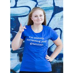 Show off your humorous side with the I'm Silently Correcting Your Grammar T Shirt. Wear yourself or give to the grammar stickler in your life.