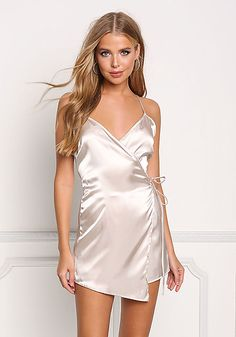 Champagne Silky Shift Wrap Dress - Off Select Styles - Sale Dresses Short, Sexy Dresses, Cute Dresses, Satin Dresses, Lace Dress, Wrap Dress, Junior Outfits, Junior Dresses, Junior Clothes