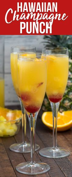 alcohol punch recipes Hawaiian Champagne Punch is an easy mimosa recipe full of pineapple and orange juice and rum! It's the perfect party punch recipe! Champagne Punch Recipes, Party Punch Recipes, Alcohol Drink Recipes, Drinks With Champagne, Mimosa Recipe With Champagne, Champagne Glasses, Adult Punch Recipes, Champagne Sangria, Mimosa Bar