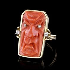 Yellow Gold Carved Coral Mask and Diamond Ring Decorative Objects, Diamond Cuts, Minimalist, Coral, Carving, Yellow, Rings, Gold, Portraits