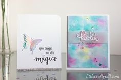 Watercolor smooching technique: two cards