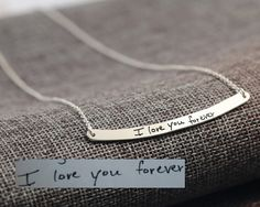 Engraved Hand Written Necklace Sterling Long by weimeiOrnaments