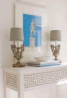 greek key home decor for hallway-stairwell wall (gray on white) - Interior Decor Casa Versace, Stairwell Wall, Greek Decor, Greek Design, Key Design, Home Modern, Greek Key, Home Staging, Interiores Design