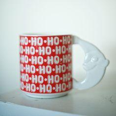 Vintage Santa Mug  Ho Ho Ho Santa Handle Mug by ShopBuenaBuena #vintagechristmas #vintagemug