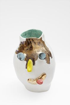Dan McCarthy. Untitled Face Pot #92. 2014. Low fire clay & glazes w/ gold lustre.