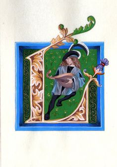 Alphabet Letter L, Medieval Illuminated Letter with Frame, Painted Initial