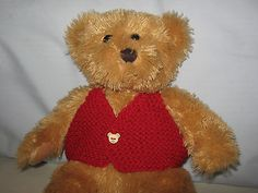 CUTE TEDDY BEAR CLOTHES - HAND KNITTED WAISTCOAT (RED TEDDY BUTTONS) | Accessories | Bears - Zeppy.io