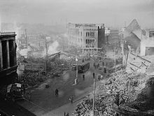 """The city centre following the 14 November air raid-An estimated 568 people were killed in the raid (the exact figure was never precisely confirmed), with another 863 badly injured and 393 sustaining lesser injuries. Given the intensity of the raid, casualties were limited by the fact that a large number of Coventrians """"trekked"""" out of the city at night to sleep in nearby towns or villages following the earlier air raids. Also people who took to air raid shelters suffered very little death"""