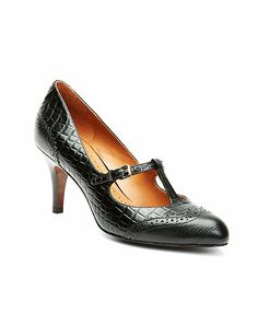 Exotic Embossed T-Strap Heels - Brooks Brothers
