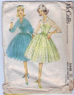 McCall's 5448 Shirtwaist Dress  Shirtwaist dress, for sheer or other fabrics, with one-piece gathered skirt. Open neckline. Set-in, three-quarter length sleeves gathered into cuffed, buttoned bands. L