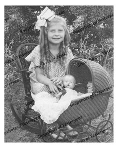 1900s era vintage photo-Little girl with ringlets-doll in wicker buggy-8x10 in